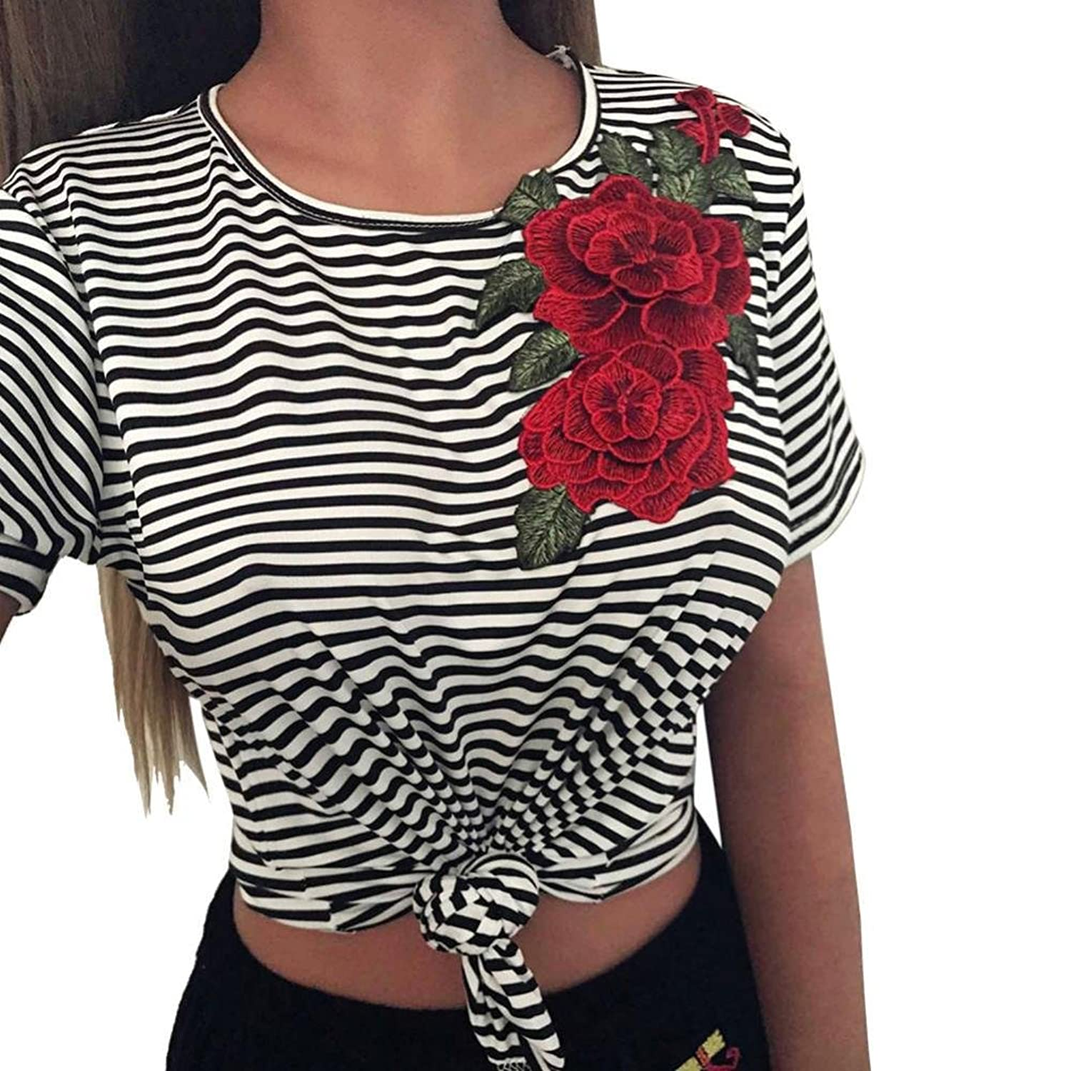 Amazon.com: DondPO Women Fashion Short Sleeve T Shirt Sexy Bare Midriff Striated Appliques Rose Blouse Summer Tops: Clothing
