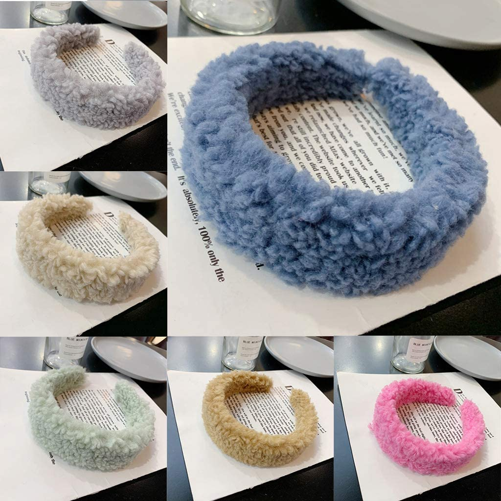 Beerty Winter Women Thicken Warmer Faux Wool Furry Fluffy Plush Wide Headband Ladies Fashion Bright Sweet Color Hair Hoop