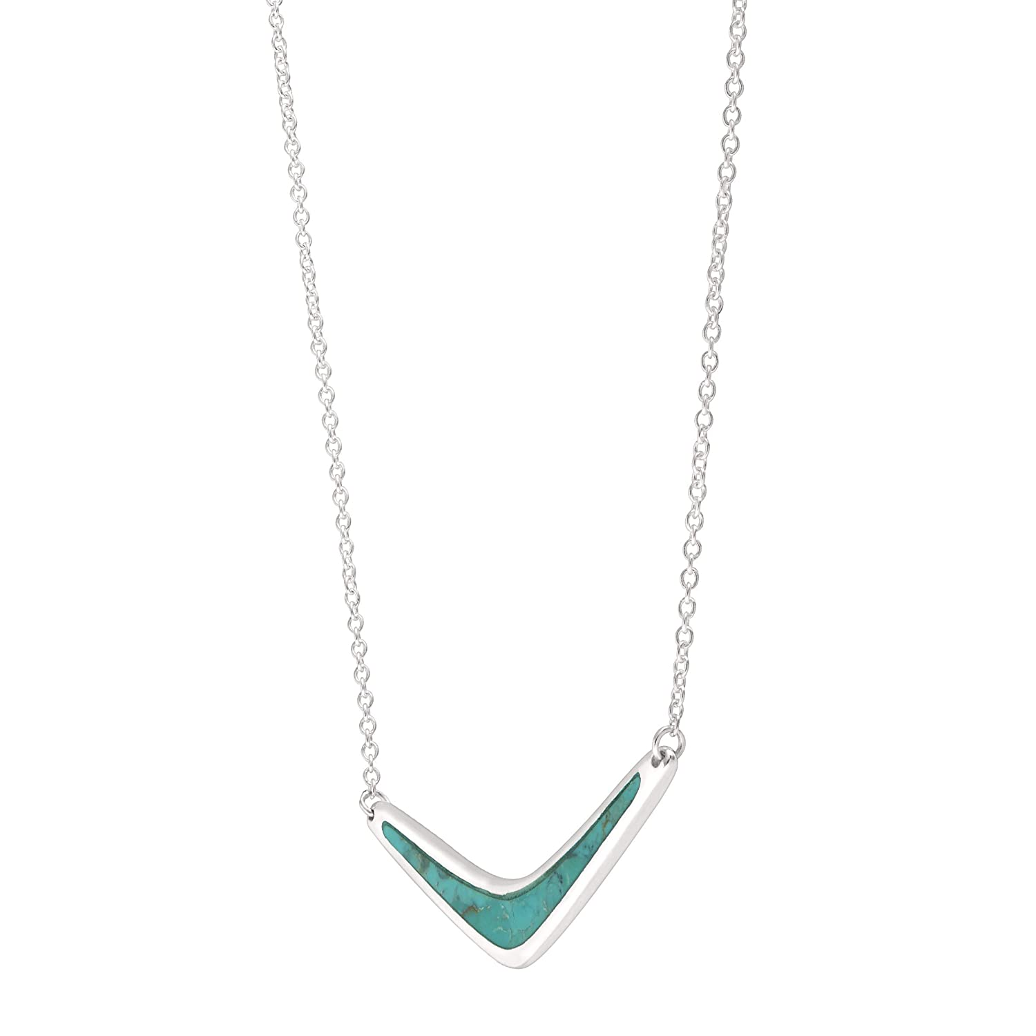 Silpada Reversible Boomerang Compressed Turquoise Necklace in Sterling Silver