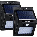 VicTsing 2 PACK 320lm Lampada Solare LED ad Energia con Sensore di Movimento, Luci Solari da Esterno con 16 LED Lampadine, per Casa Giardino Scale Cortile Fuori Muro, Nero