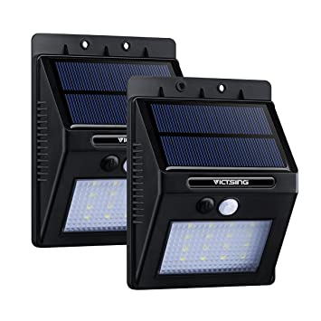 VicTsing 2 Packs Luces Solares LED de Pared con Sensor Movimiento, Detector Activado Lámpara Exterior