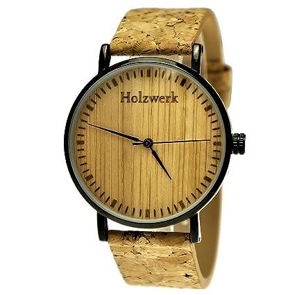 Pure Time® Designer Unisex Certificado Vegano) Madera Natural Slim Reloj de pulsera con esfera de madera, incluye caja para relojes