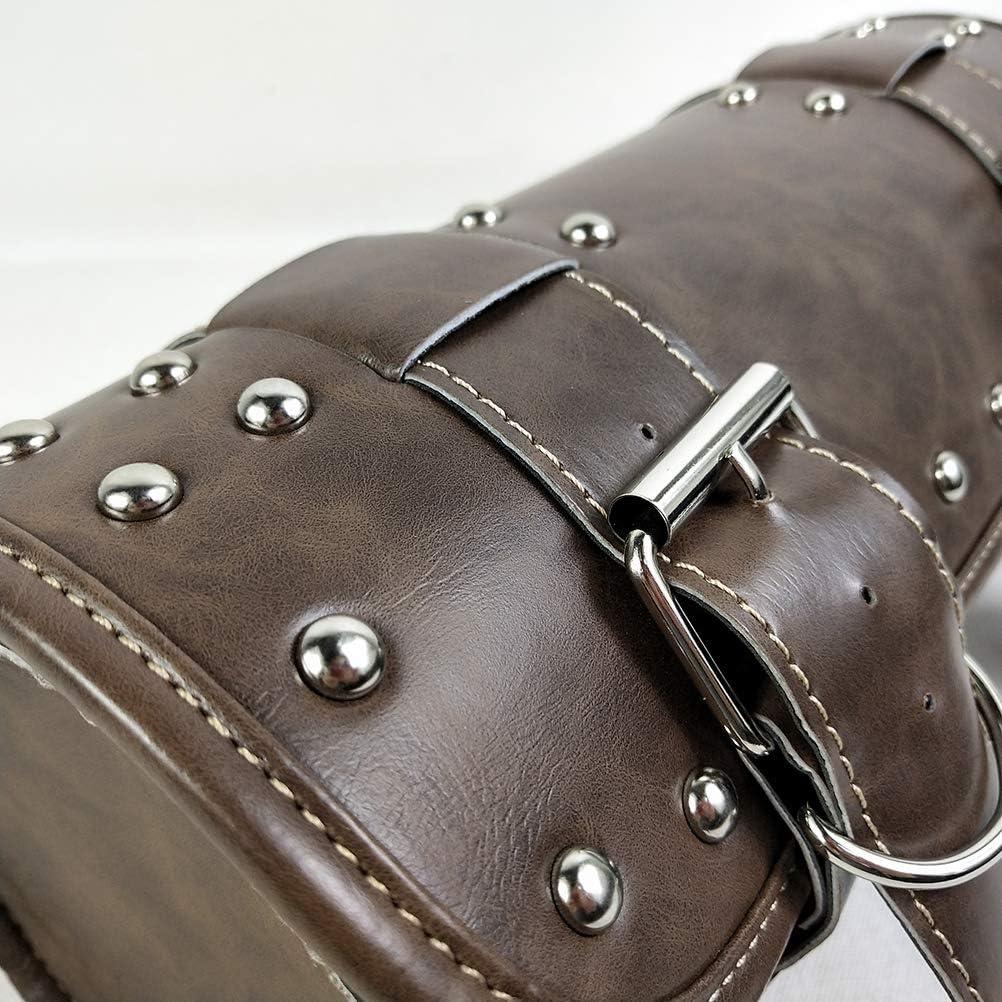 LIOOBO Sac de Guidon de Moto Vintage en Cuir v/éritable Vert brun/âtre Waterproof-Storage Tool Bags Organisateur avec 2 Sangles
