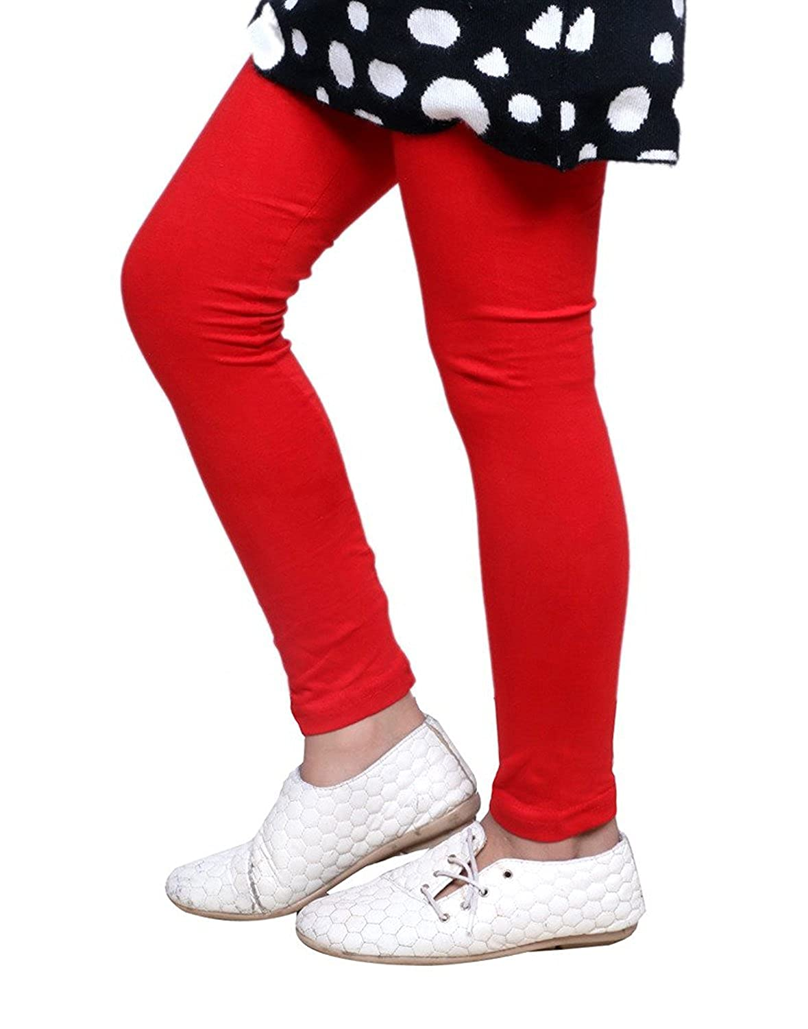Indistar Girls 2 Cotton Solid Legging Pants Pack Of 4 /_Multicolor/_Size-3-5 Years/_71403041718-IW-P4-24 and 2 Cotton Printed Legging Pants