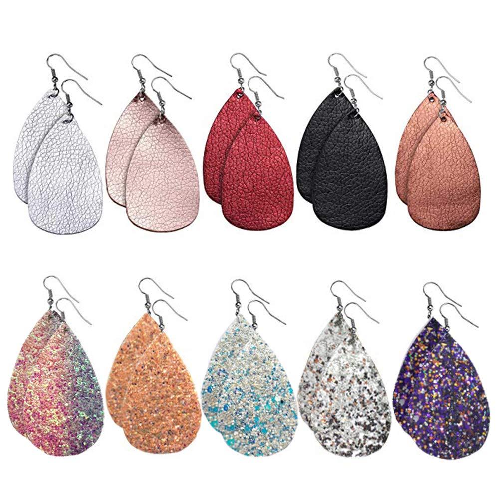 10 Pairs Faux Leather Earrings Set, Glitter Leather Earrings, Dangle Drop Earrings for Women Girls