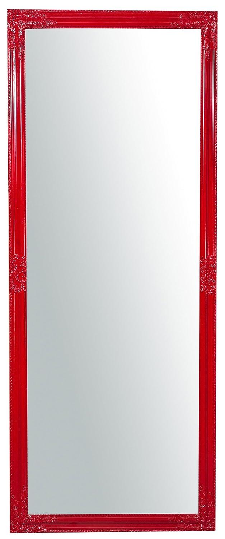 Specchio Specchiera da parete con cornice rettangolare verticale/orizzontale 72x3x180 cm finitura rosso lucido da appendere Biscottini