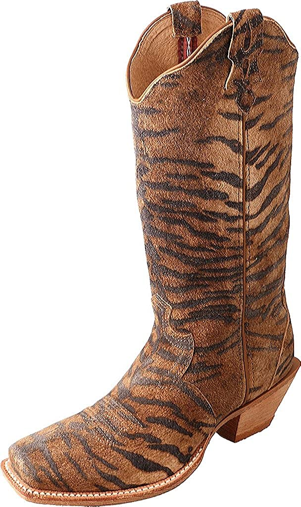 Wso0021 Twisted X Womens Tiger Print Steppin Out Cowgirl Boot Square Toe