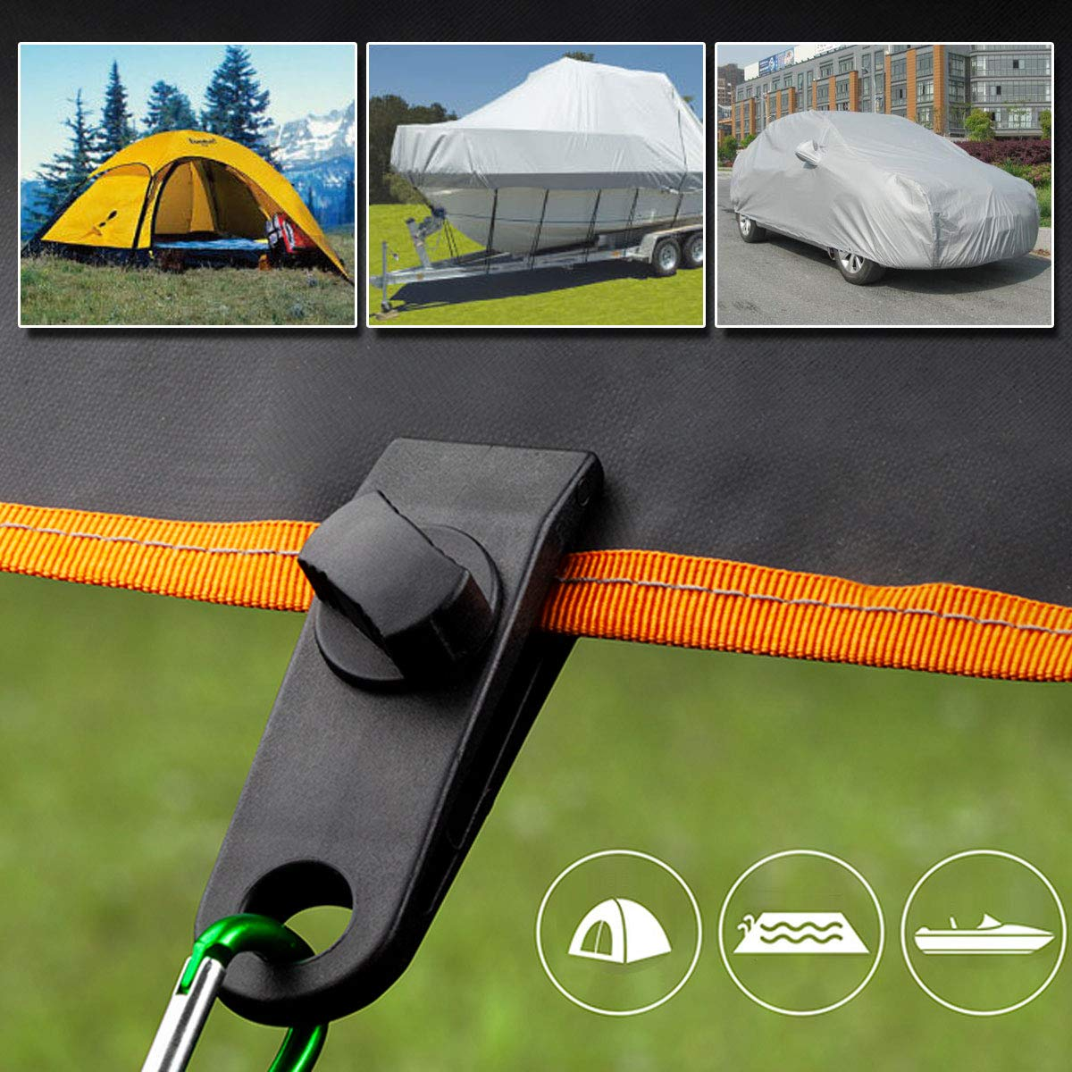 Black LIOOBO 10pcs Tent Clips Tarp Clamp Clips Heavy Duty Awning Clamp for Camping Farming