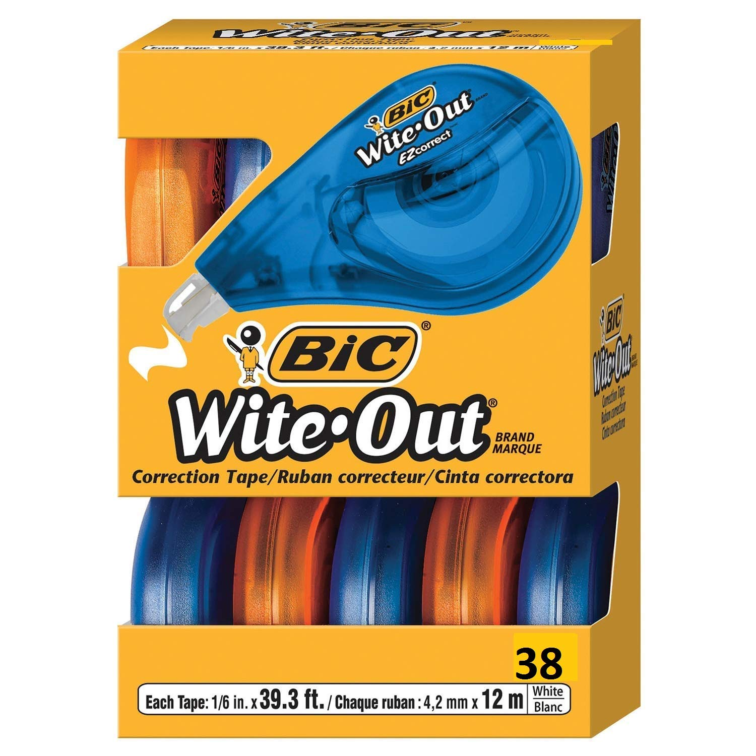BIC Wite-Out Brand EZ Correct Correction Tape, White, 38-Count (38) by BIC (Image #1)