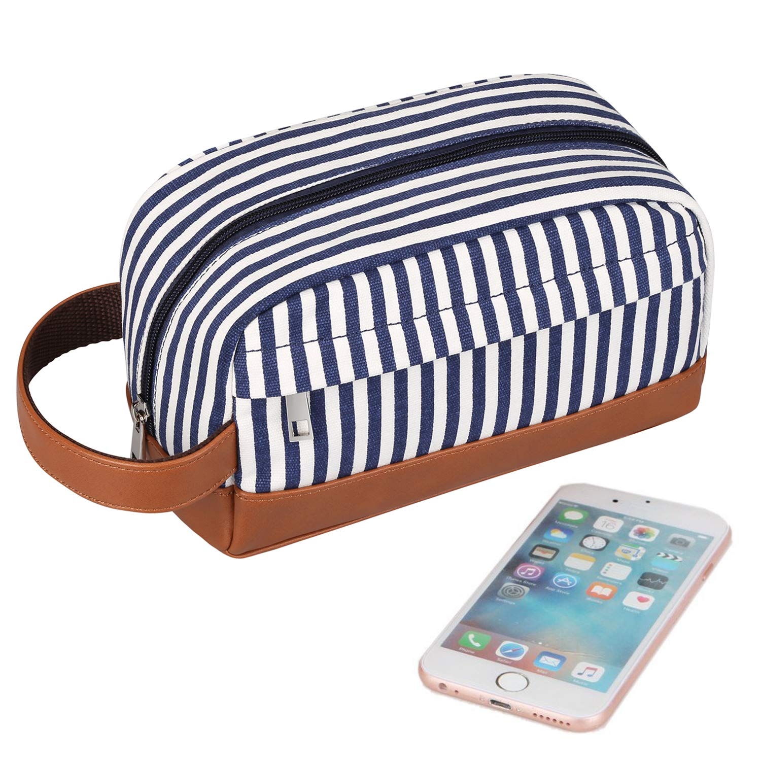 S-ZONE Canvas Toiletry Bag Shaving Dopp Case Vintage Leather Cosmetic Makeup Bag