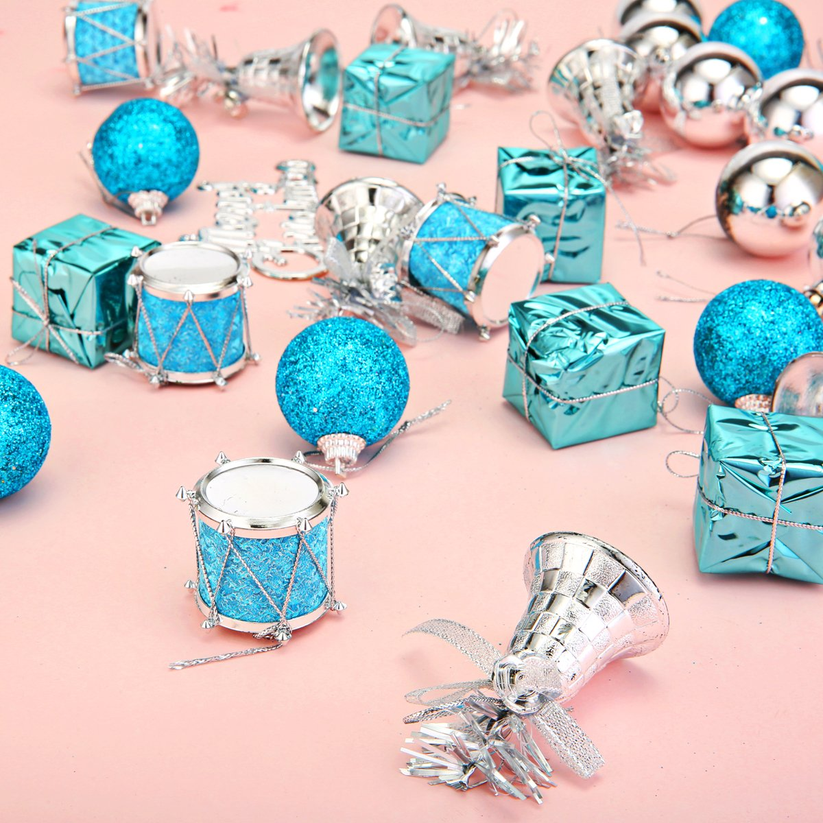Amazon.com: Jeteven 32pcs Christmas Ornaments Set Hanging Decoration ...