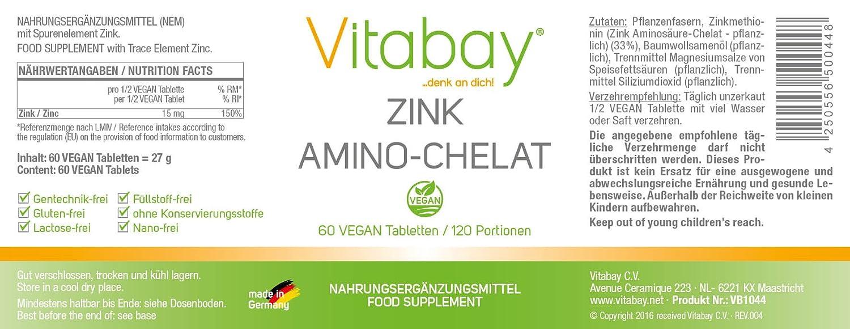 Zinc amino quelato 120 porciones con 15 mg de zinc (contenido elemental) por medio comprimido - dosis altas - 60 tabletas: Amazon.es: Salud y cuidado ...