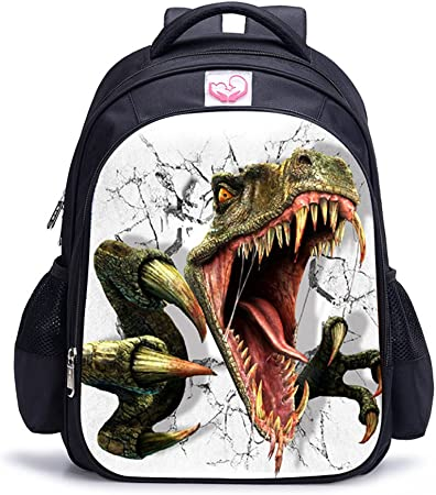Imagen deMemoryee Dinosaurio 3D Impresión Realista Childrens Backpack Kindergarten Primary School Mochila Escolar Mochila de Lona Laptop Book Satchel Bolsa de Caminata - 15L / 32 x 17 x 42 cm (Dinosaurio02)