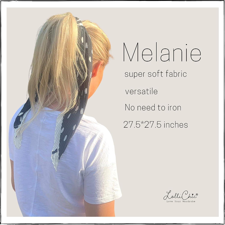 Fashion Silk Bandana Headbands Square Neckerchief Original Scarfs for Women Lightweight Pleated Silk Scarf for Hair