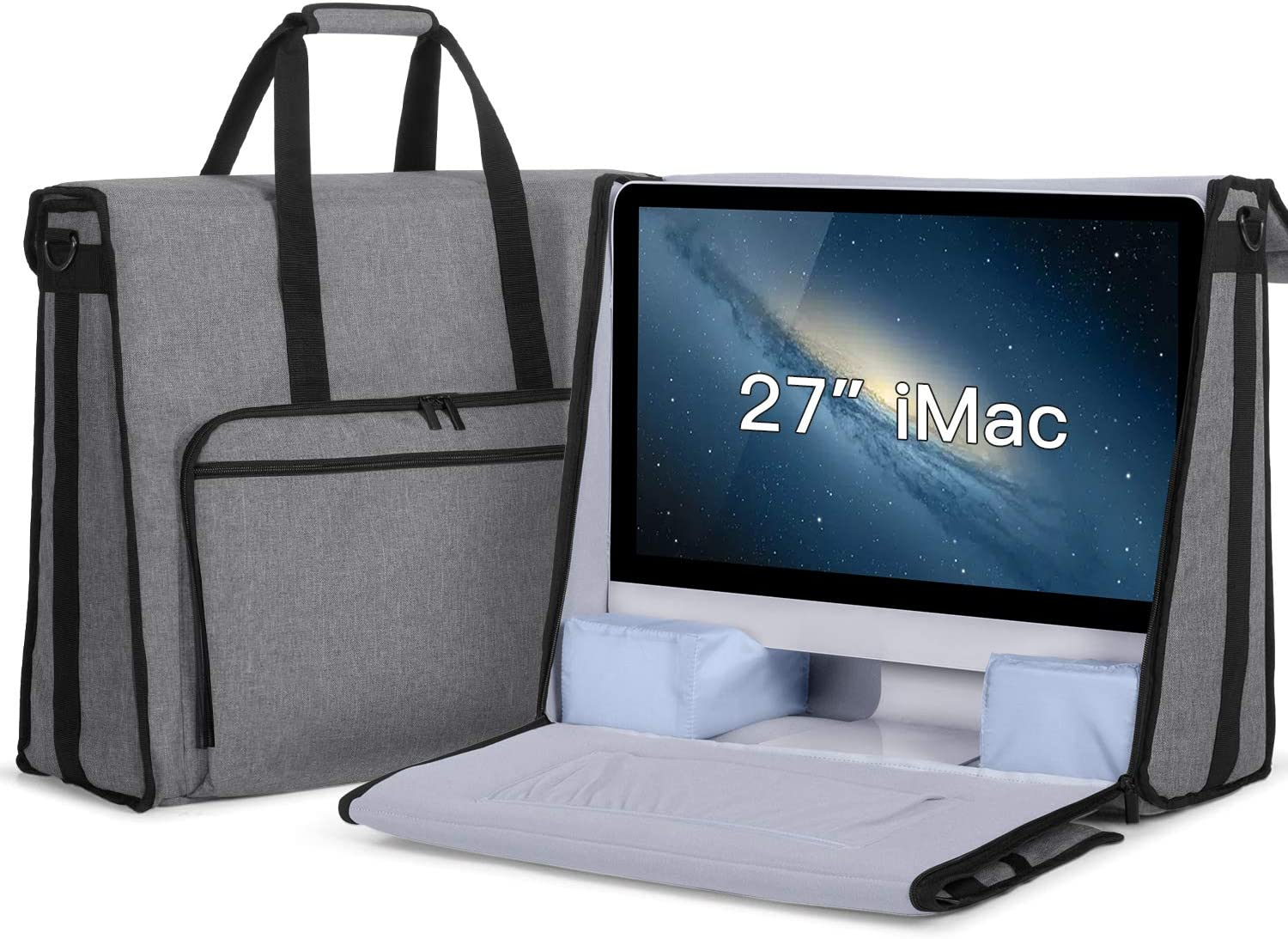 "Damero Carrying Tote Bag Compatible with Apple 27"" iMac Desktop Computer, Travel Storage Bag for iMac 27-inch and Other Accessories, Gray"