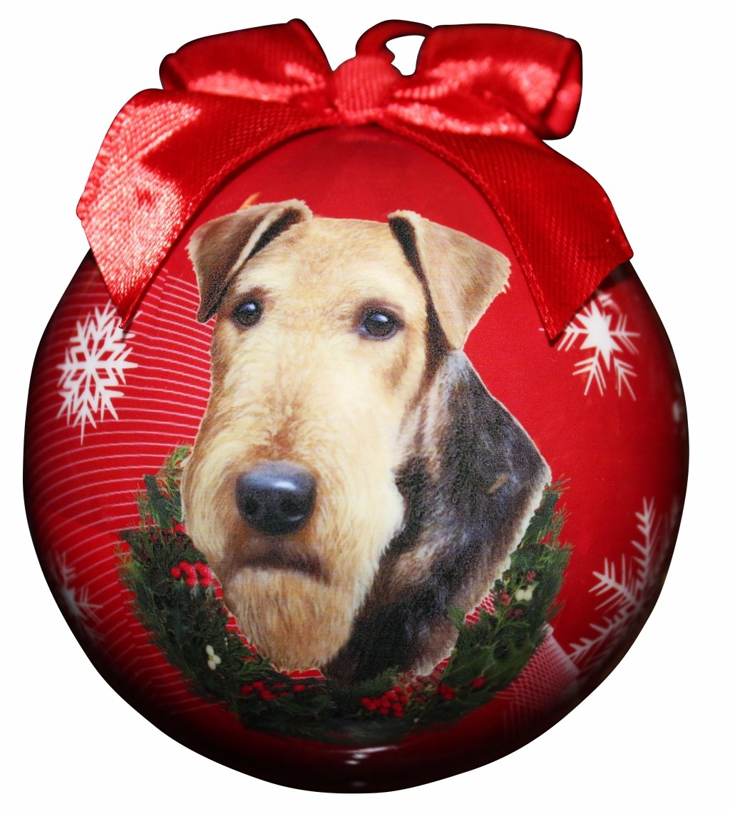 """Airedale Christmas Ornament"" Shatter Proof Ball Easy To Personalize A Perfect Gift For Airedale Lovers 1"