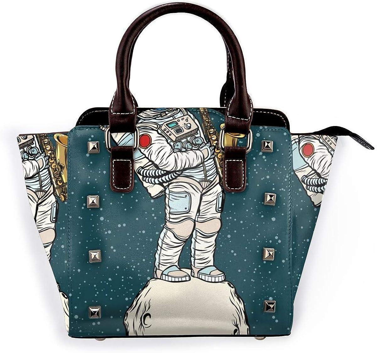 Magia Wolf Atrapasueños Mujer Moda Cuero Genuino Remache Bolso de Hombro Chicas de Viaje Escuela Bolso de mano Saxofón Astronauta Espacial