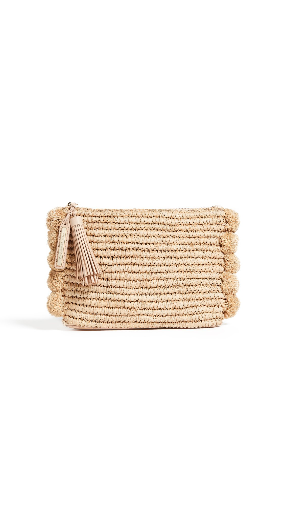 Loeffler Randall Women's Tassel Pouch with Pom Poms, Natural, One Size