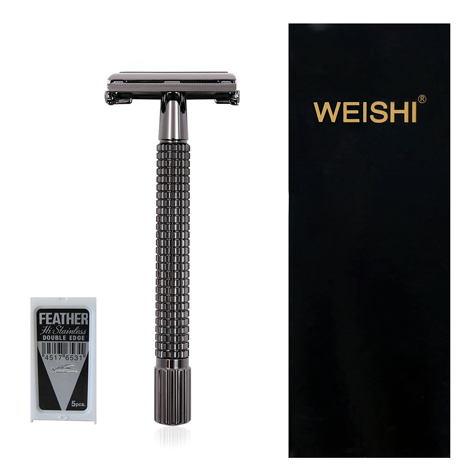 WEISHI Nostalgic Long Handle Version HEAVY WEIGHT Butterfly Open Double Edge Safety Razor