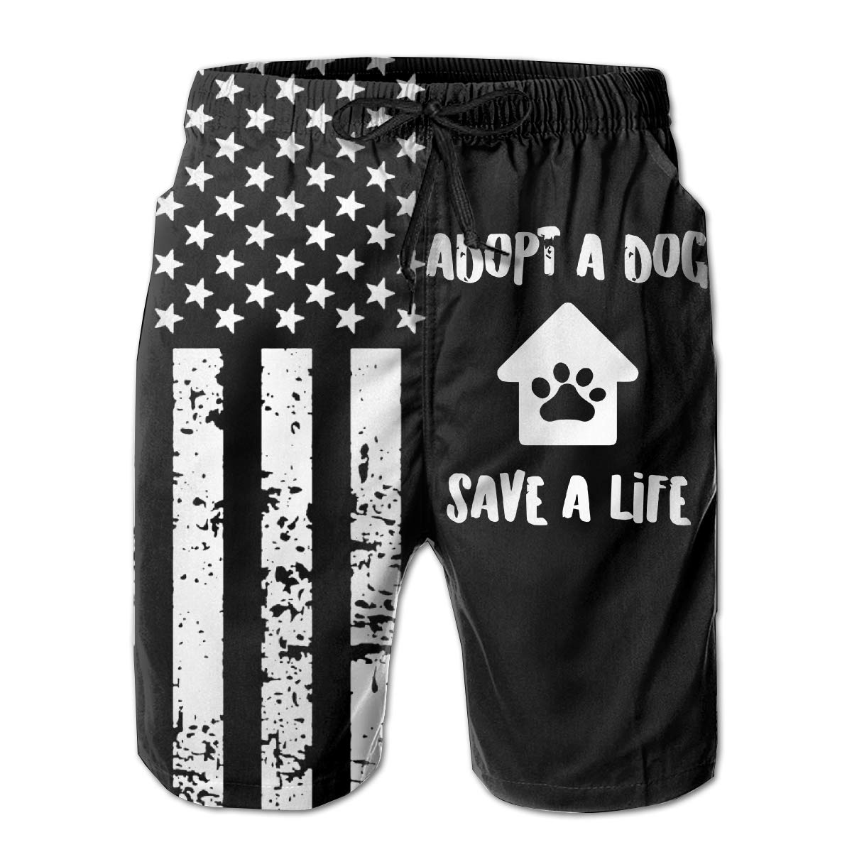 TBVS 79 Adopt A Dog Save A Life 3 Mens Summer Cool Hawaiian Shorts for Surf Sand and Fun