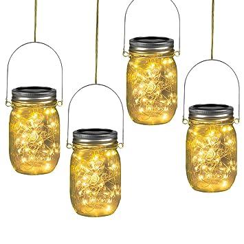 Amazon.com: 30 luces LED solares para colgar en tarros de ...