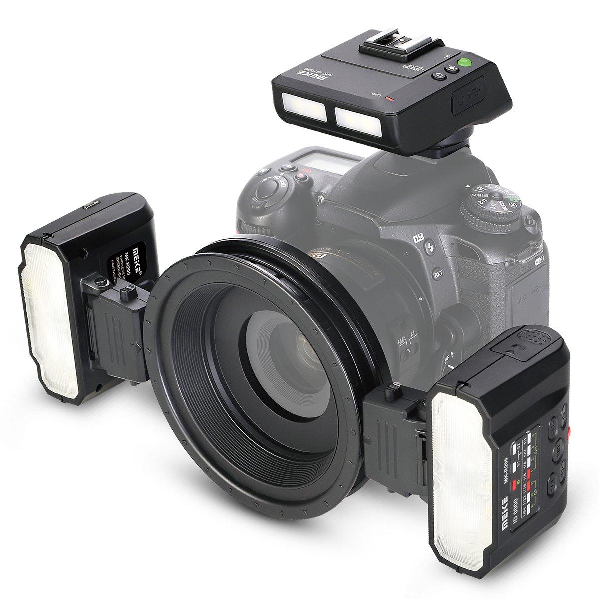 Meike MK-MT24 2.4G Wireless Close-Up Speedlight Macro Twin Lite Flash for Nikon F-Mount Z-Mount Digital SLR Cameras D1X D2 D2H D2X D3 D3X D200 D300 D300S D700 Z6 Z7, etc