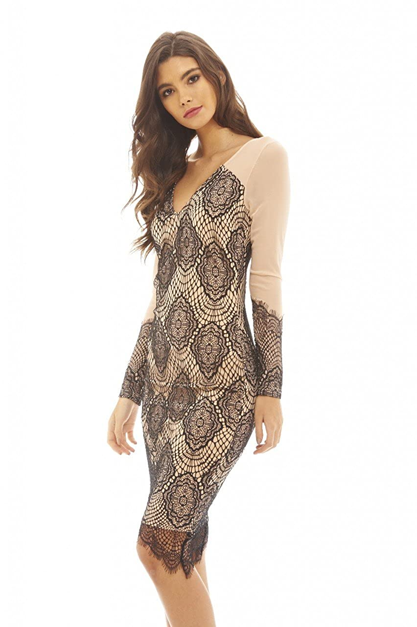 55426afdda This contrast and crocheted lace dress with mesh sleeves is that unique  piece you ve always been searching for. The plunge V neck and bodycon shape  will ...