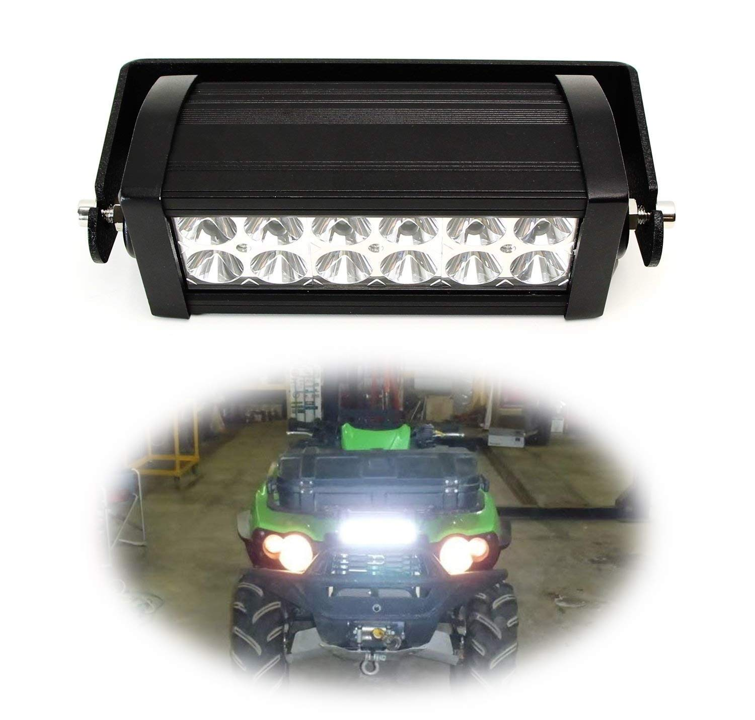 iJDMTOY 8-Inch LED Light Bar Kit Universal Fit For ATV UTV Grill, Hood & Handles, Includes (1) 36W High Power Double Row LED Light Bar & Front Grille/Center Hood/Handlebar Mounting Bracket by iJDMTOY