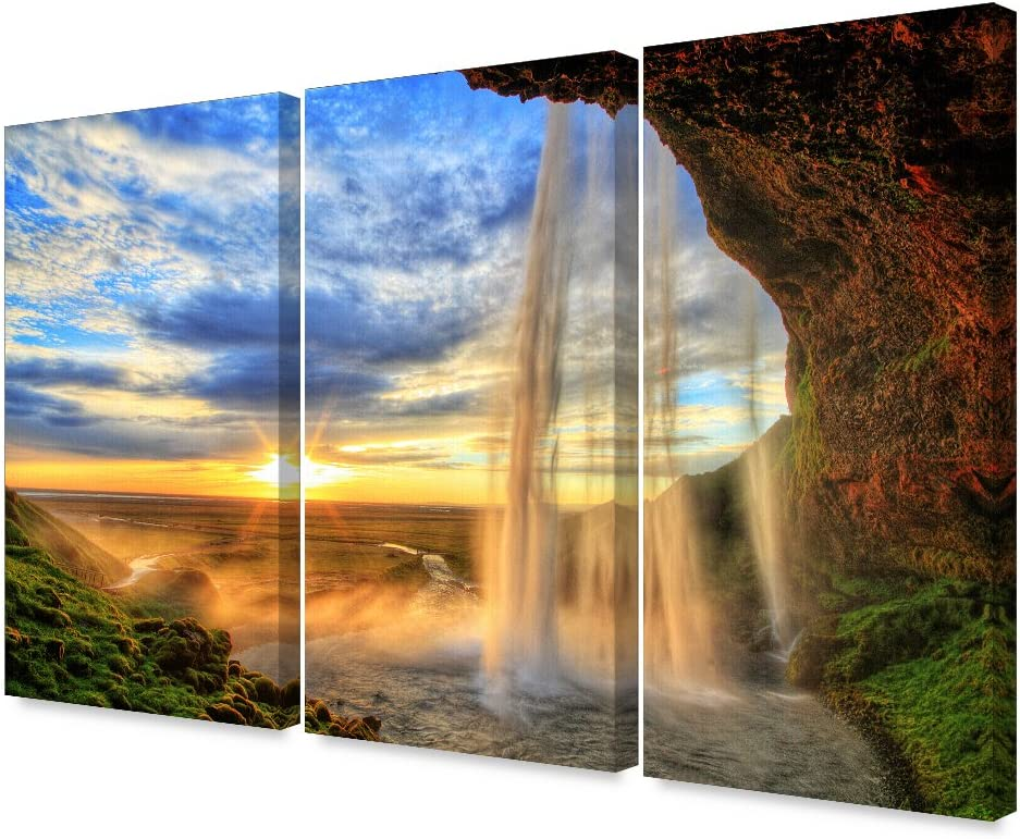 DECORARTS -The Waterfall in Seljalandfoss(Triptych). Giclee Print on Canvas Wall Art for Home Decor. 48x32