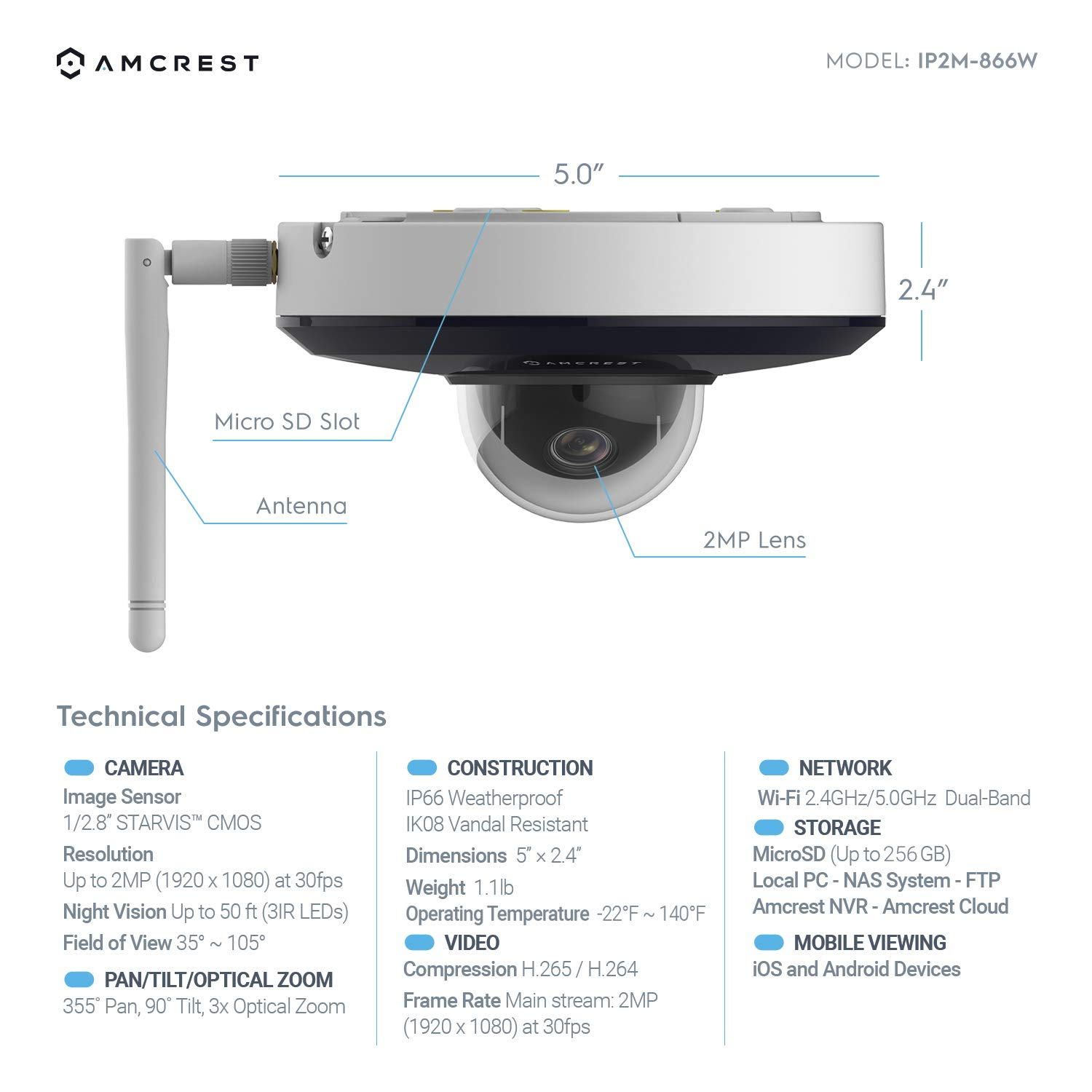 Amcrest ProHD 1080P PTZ WiFi Camera, 2MP Outdoor Vandal Dome IP Camera (3X Optical Zoom) IK08 Vandal-Proof, IP66 Weatherproof, Dual Band 5ghz/2.4ghz, 2019 Updated Firmware, Pan/Tilt IP2M-866W (White) by Amcrest (Image #4)