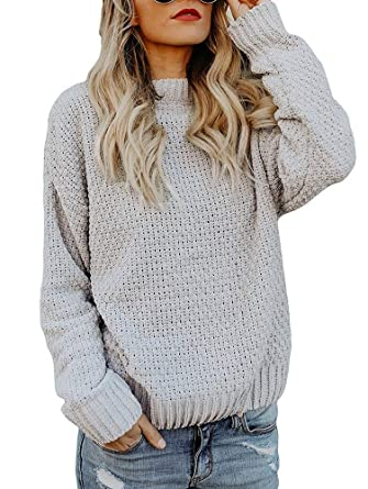 d5bdeff43 Beautife Womens Oversized Crewneck Sweaters Causal Long Sleeve Cable ...