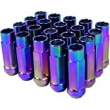 Godspeed New Type 3-X NEO CHROME 12mm x 1.25 Thread Size Cold Forged SCM-435 Steel Black Finish Open End Lug Nut, (pack of 20)