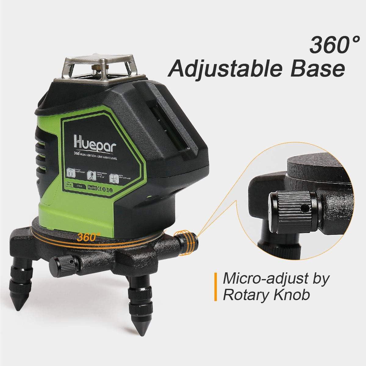 con montaje roscado est/ándar de 5//8 operado manualmente base giratoria base giratoria de 360/° para el conector de tr/ípode de nivel l/áser de l/ínea Adaptador de nivel l/áser Huepar PV7