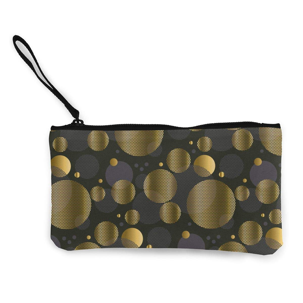 Bk55Oi/&/& Womens Vintage Purse Gold and Black Geometric Pattern Canvas Card Wallet with Zipper for Women