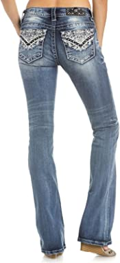 Miss Me Womens Intricate Embroidered Boot Cut Jeans - M3177b-K852