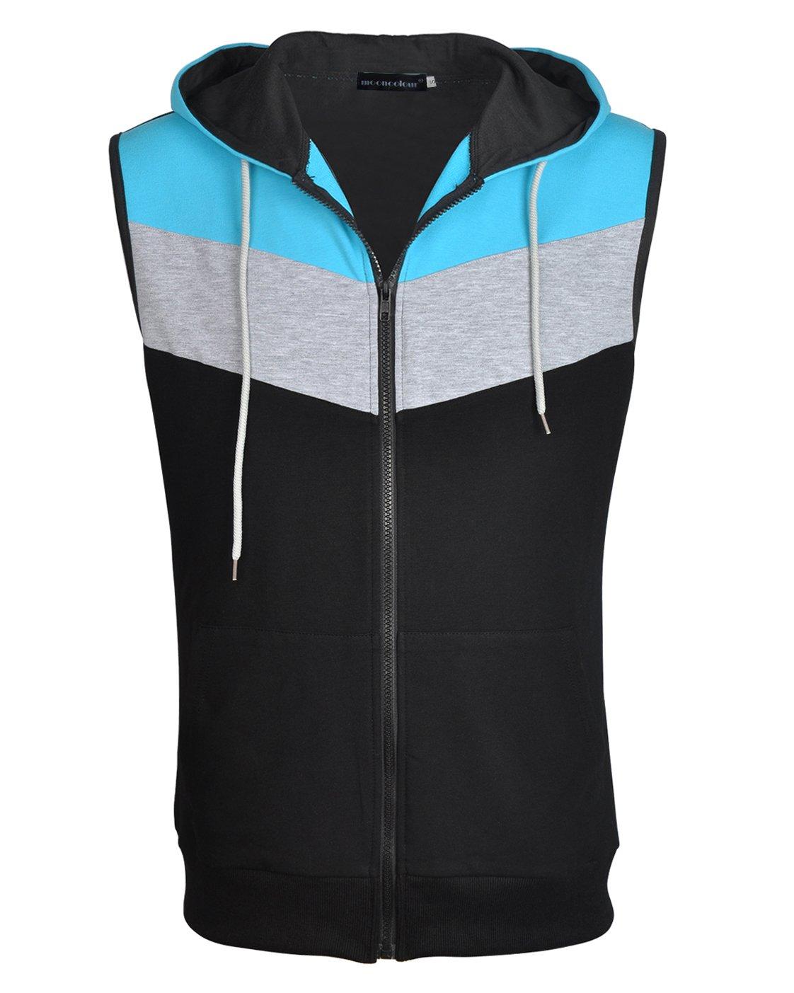 Mooncolour Men's Slim Fit Sleeveless Lightweight Zip-up Vest Tank Hoodies