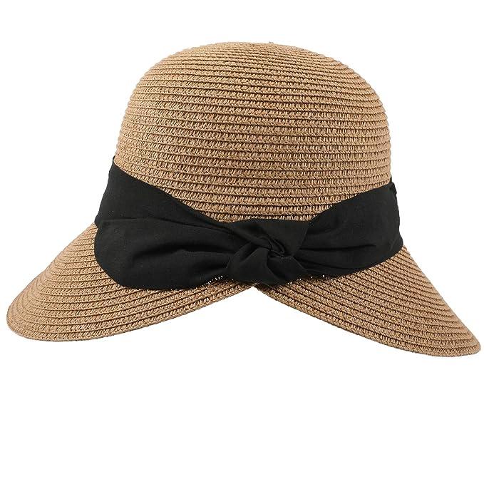 Fang wie kommt man professioneller Verkauf Bequemer Laden Sonnenhut Damen Faltbarer Strohhut UV Schutz Sommer Strand  Hut mit Sonnenschutz Breite Krempe