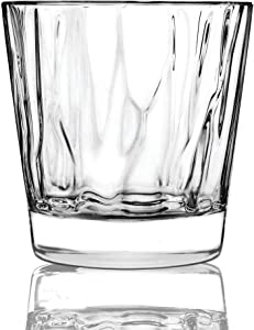 Circleware 45053 Velocity Double Old Fashioned Whiskey Glasses, Set of 4 Kitchen Drinking Glassware for Water, Juice, Ice Tea, Beer, Wine Bar Barrel Liquor Dining Decor Beverage Gifts, 12.5 oz