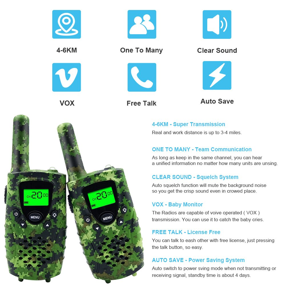 Walkie Talkies for Kids,22 Channels FRS/GMRS UHF Kids Walkie Talkies, 2 Way Radios 4 Miles Walkie Talkies Kids Toys with Flashlight by EWOR, 1 Pair,Camo (Camo Green) by E-wor (Image #7)
