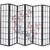 Paravent bois noir avec fleurs de cerisier de 6 pans, Dim: L264 x H176 x P2 cm -PEGANE-