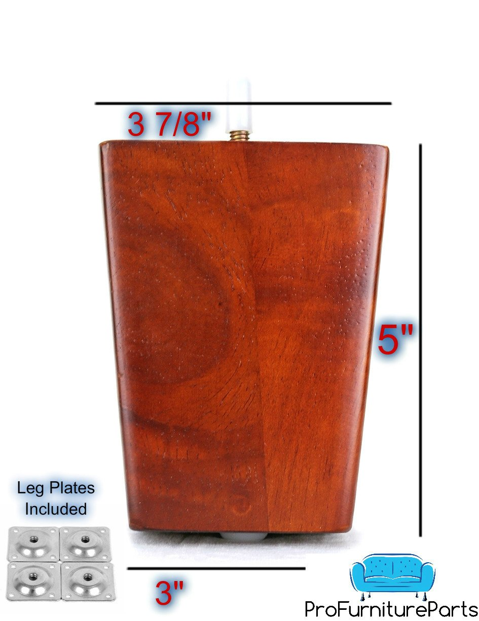 ProFurnitureParts 5'' Inch Walnut Finish Square Tapered Pyramid Wood Sofa Legs Set of 4 W/ Leg Plates