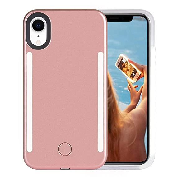 brand new de22f f41b4 Wellerly iPhone XR Case, LED Illuminated Selfie Light Cell Phone Case Cover  [Rechargeable] Dual Light Up Luminous Selfie Flashlight Case for iPhone XR  ...