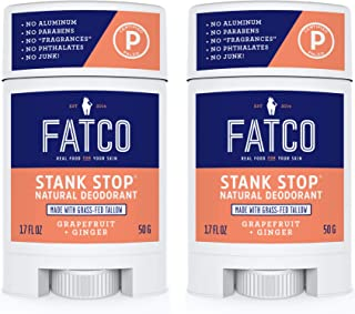 product image for FATCO Stank Stop All Natural Deodorant with Tallow and Organic Coconut Oil – Grapefruit + Ginger 2-Pack (1.7 oz)