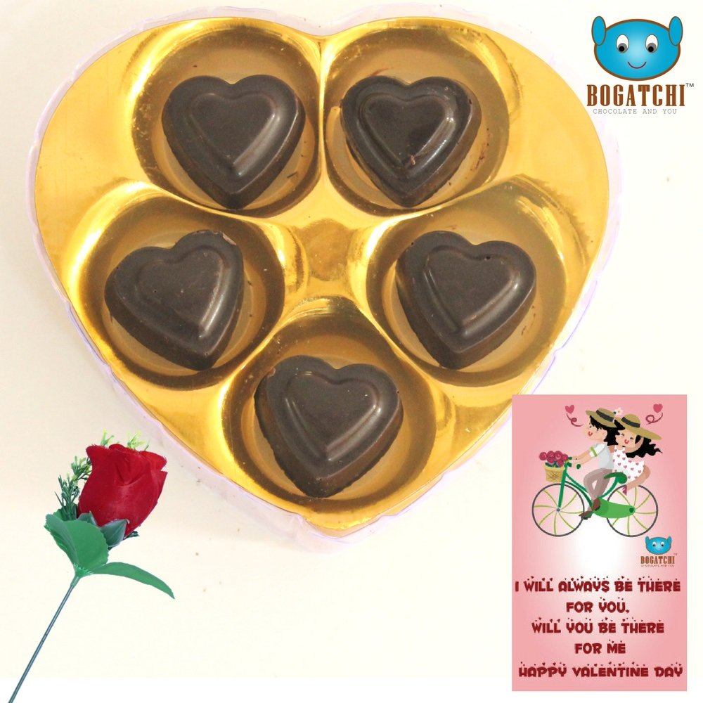 Bogatchi Chocolate Hearts (5Pcs), Red Rose & Greeting Card
