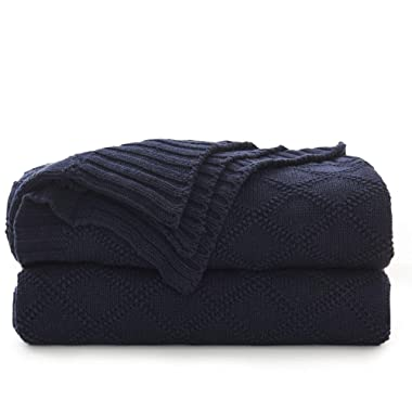 100% Cotton Navy Blue Cable Knit Throw Blanket with Bonus Laundering Bag – Large 50 x 60 Inch Thick, 2.5 Pounds,Extra Cozy, Machine Washable, Comfortable Home Decor