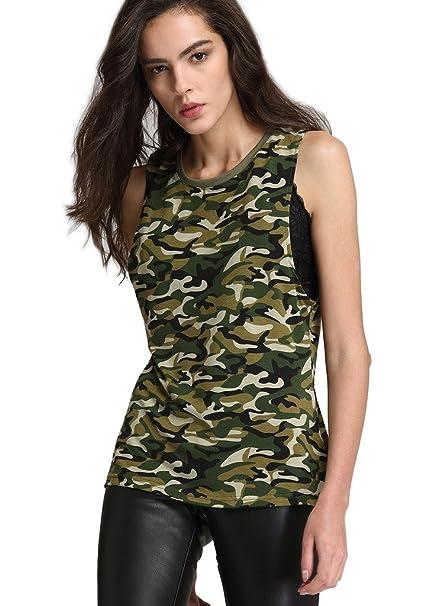 9093101fce6f Escalier - Camiseta Mangas Cortas Para Mujeres, Cuello en V, Camuflaje  Estilo Militar Clá