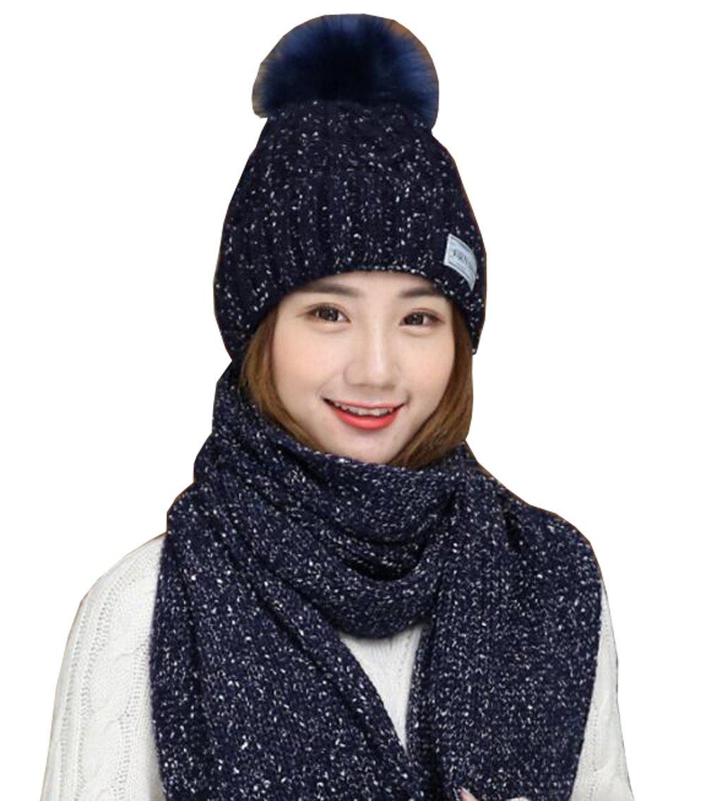 1Set Knitted Winter Warm Hats & Scarf Neck Warmer Scarves Cap Headbands Hair Wear Neckerchief For Girls Adult (Blue)