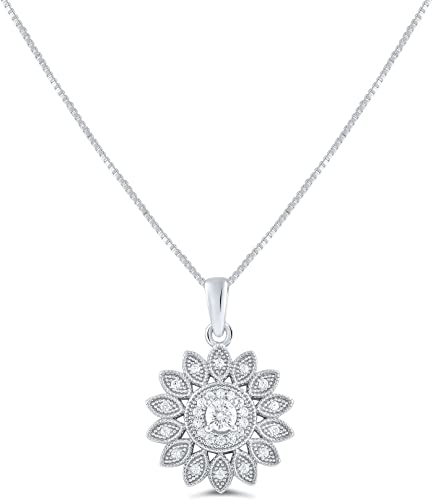 925 Sterling Silver Sunflower Pendant With Silver Chain Bridesmaid 19 x 10 mm