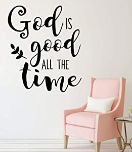 Christian Wall Decal - God Is Good All The Time - Inspirational Vinyl Sticker For Home Decor or Church Decoration
