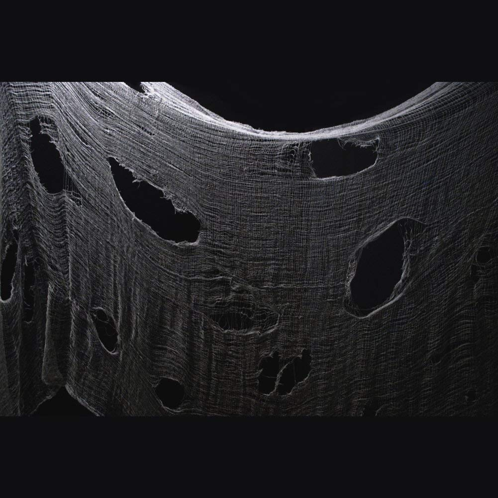 Black PT17 DealKits Spooky Giant Cheese Cloth Tapestry for Halloween Party Supplies Decorations Outdoor Yard Home Wall Decor Halloween Creepy Cloth 48 x 240 in.